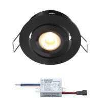 Creelux LED inbouwspot | zwart | warmwit | 3 watt | dimbaar | kantelbaar L2146